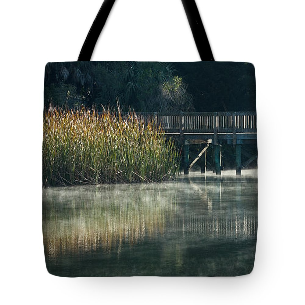 Florida Tote Bag featuring the photograph Misty Pond by Jane Luxton