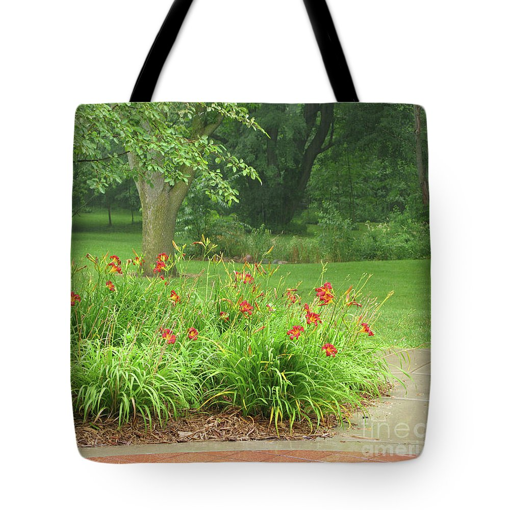 Rainy Day Tote Bag featuring the photograph Misty Rain by Ann Horn