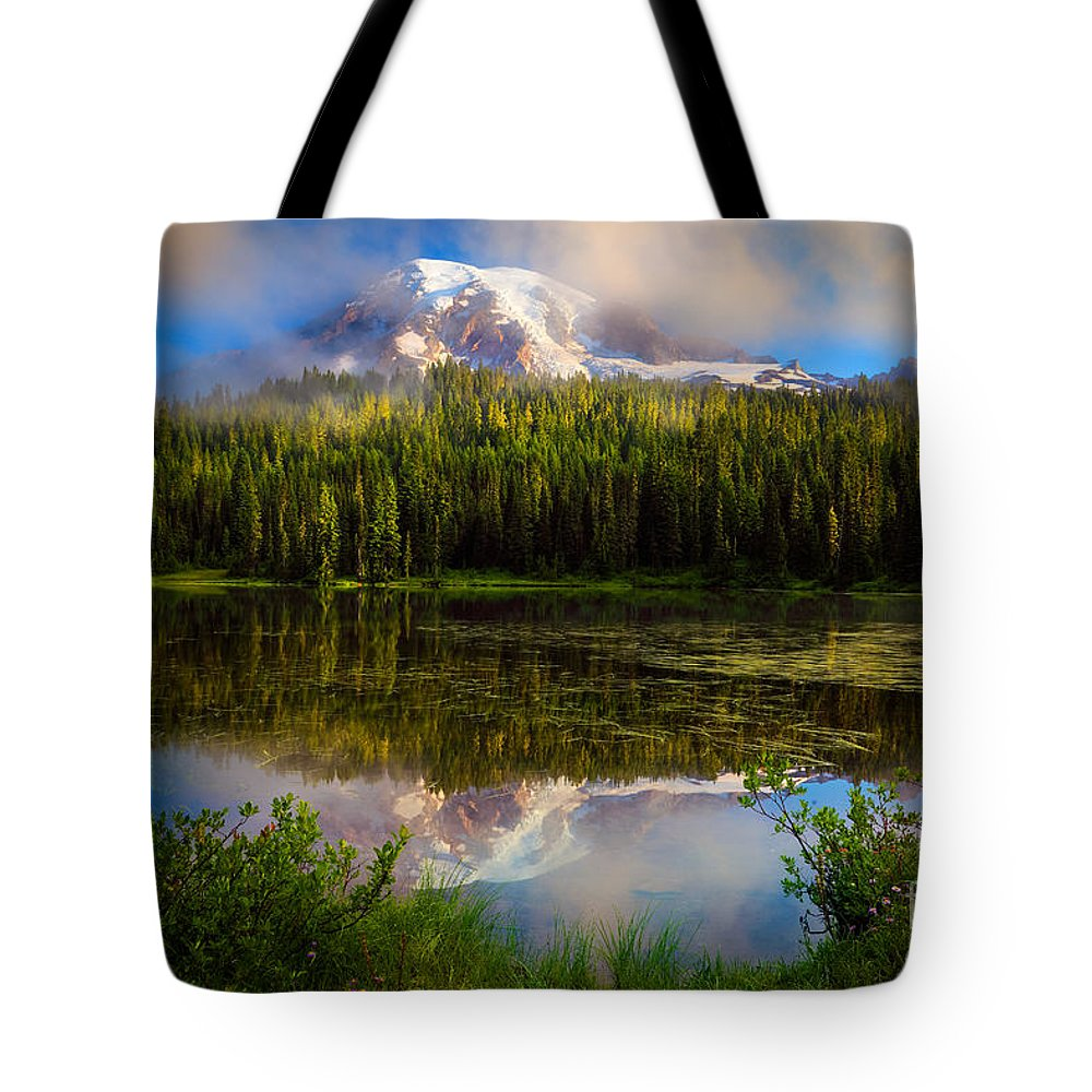 America Tote Bag featuring the photograph Misty Reflection by Inge Johnsson