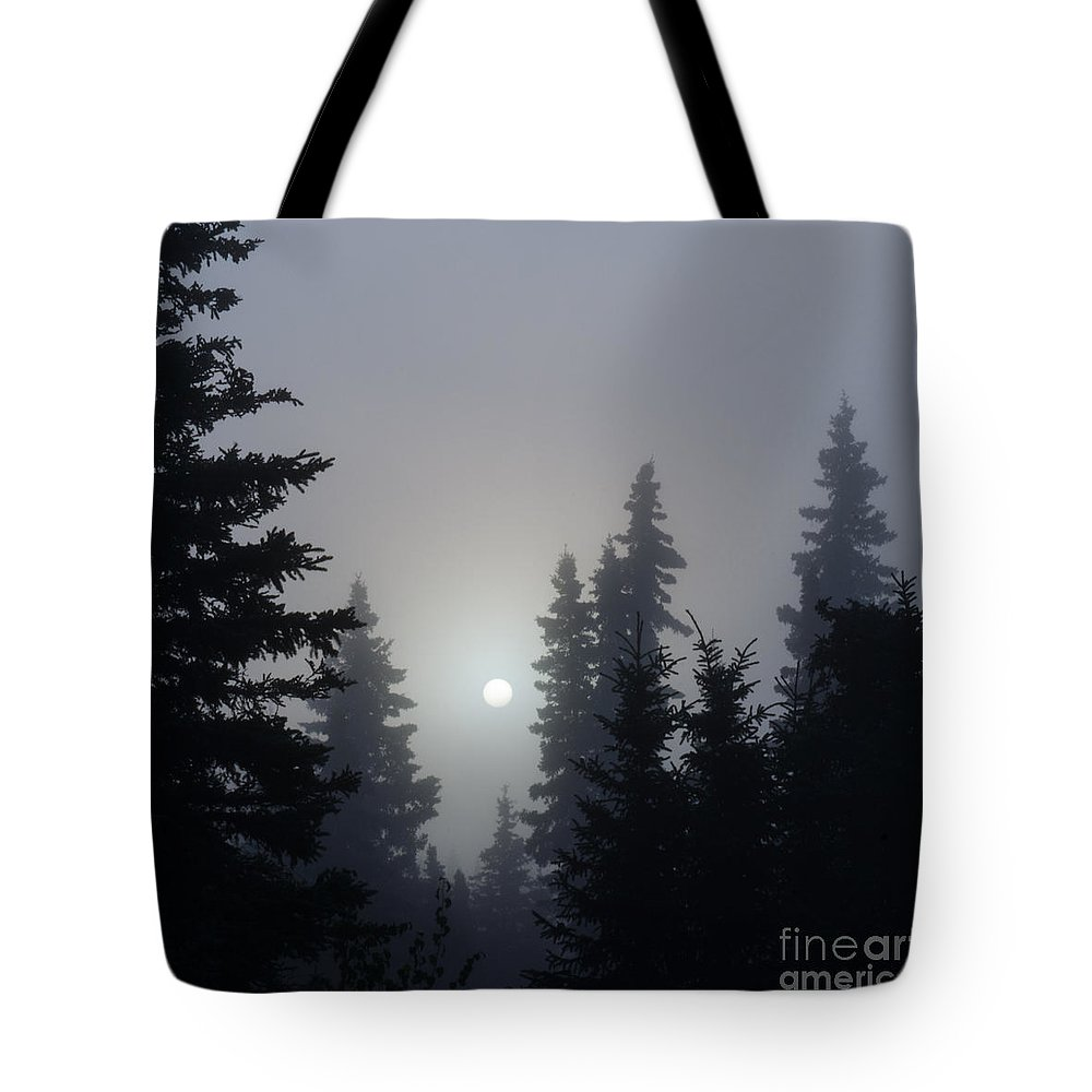 Alaska Tote Bag featuring the photograph Misty Sunrise by Carol Beverly