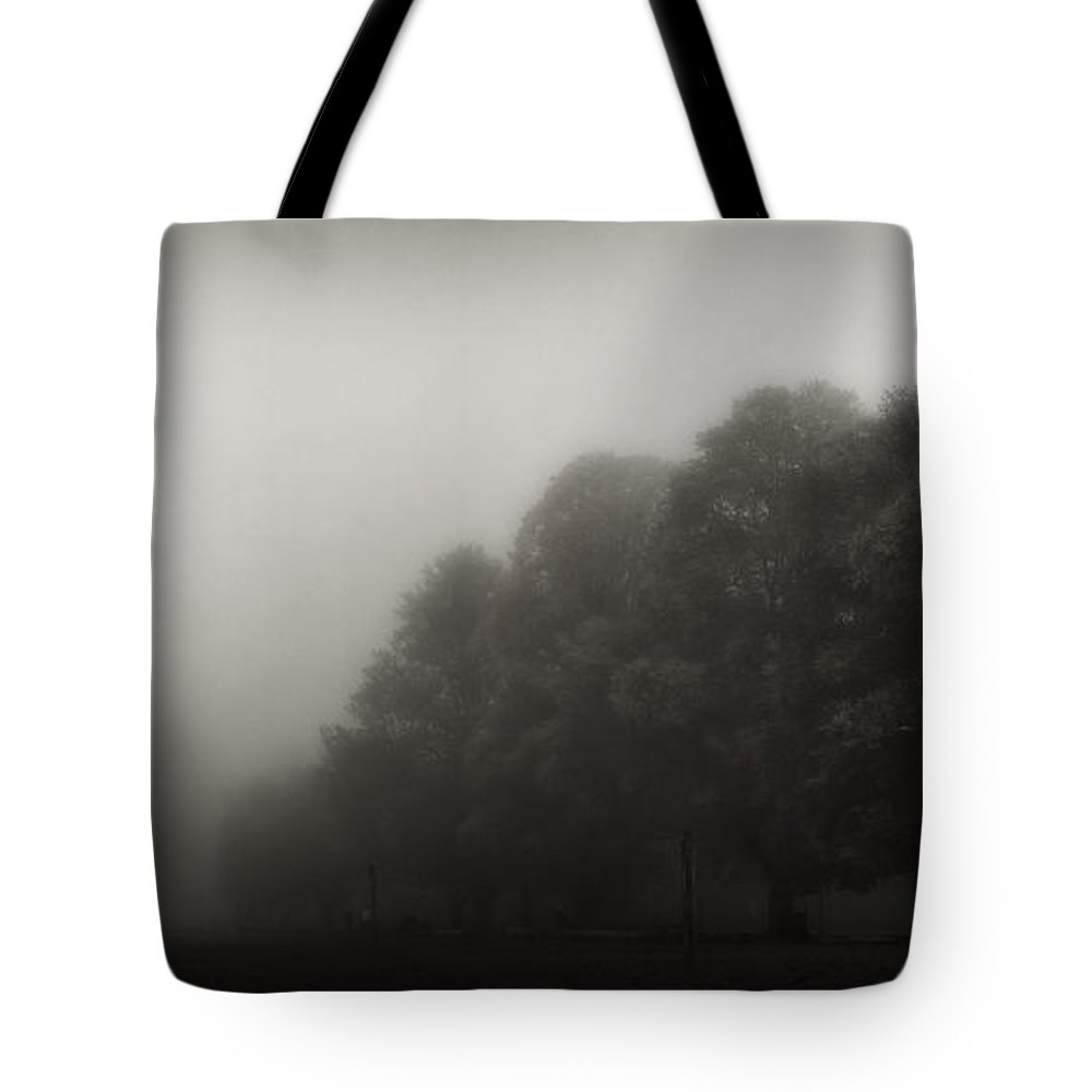 Atmosphere Tote Bag featuring the photograph Misty Trees In Early Morning Fog by Peter v Quenter