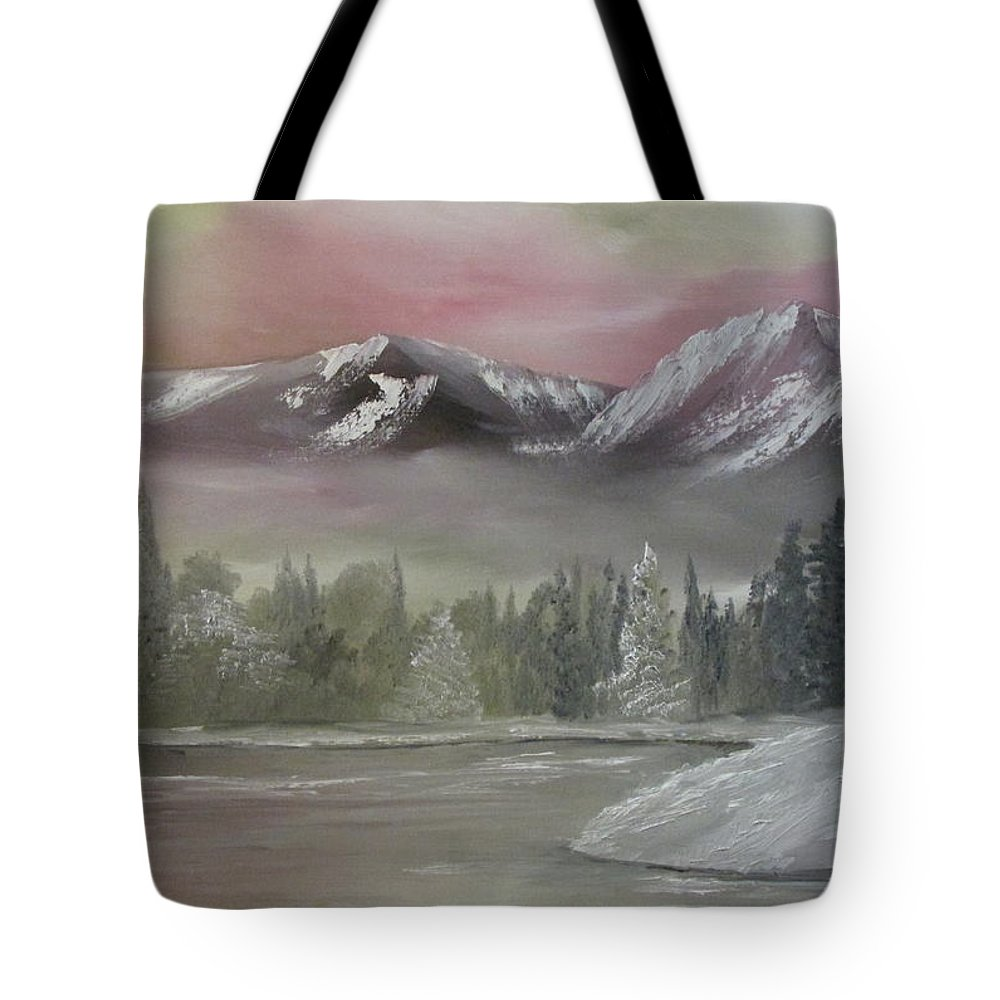 Mountains Tote Bag featuring the painting Misty Winter by Dawn Nickel