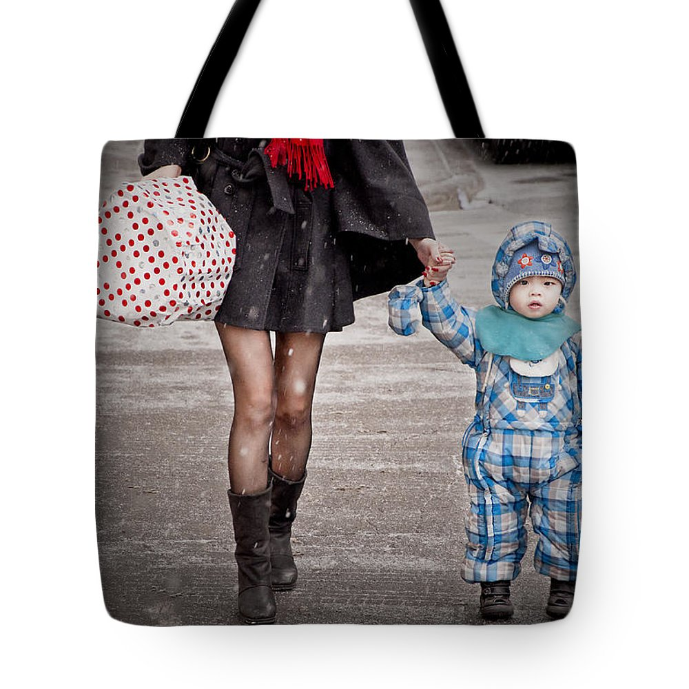 People Tote Bag featuring the photograph Mittens Attached by Valerie Rosen