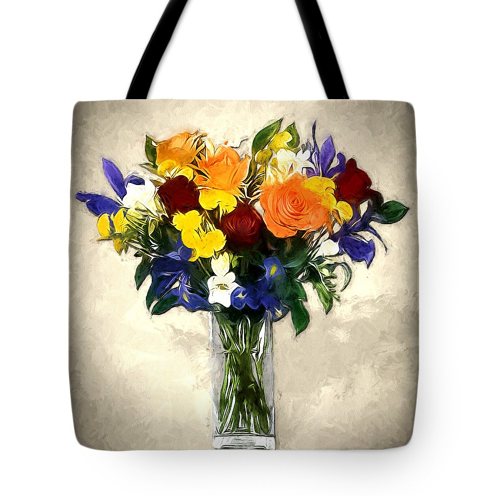 Flowers Bouquet Arrangement Roses Iris Botanical Floral Nature Tote Bag featuring the painting Mixed Bouquet Of Tropical Colored Flowers On Textured Vignette Oil Painting by Elaine Plesser