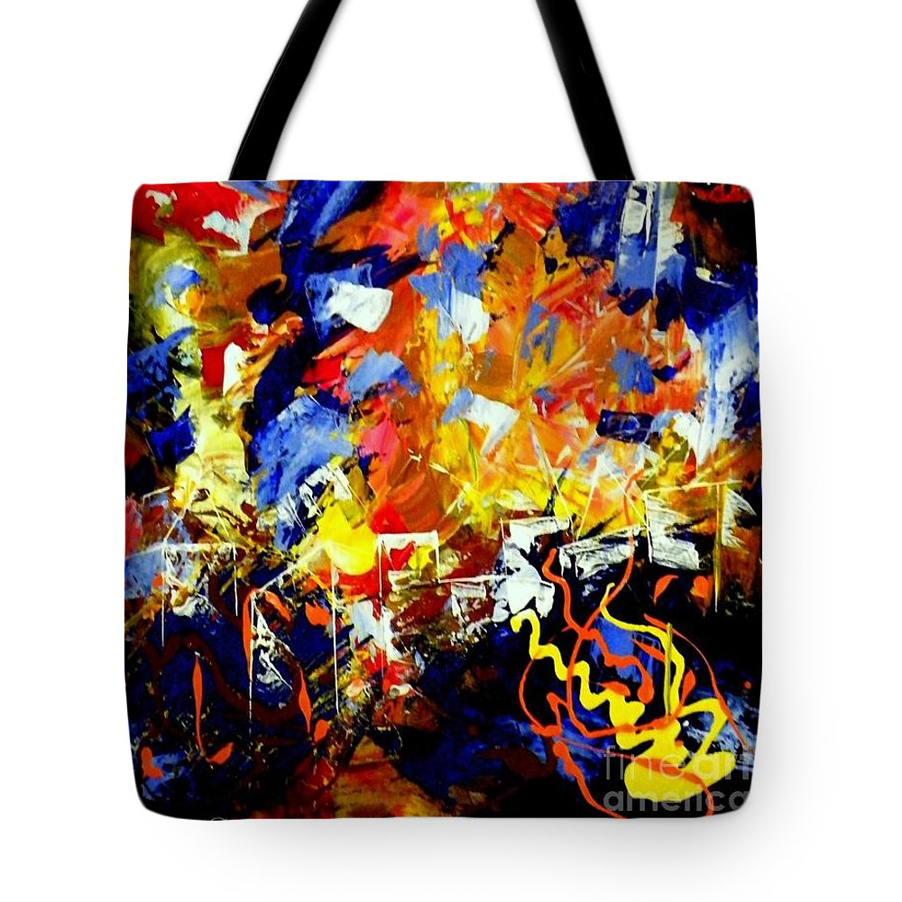 Abstract Tote Bag featuring the painting Mixed Emotions by Dana Garner