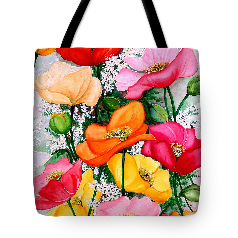 Poppies Tote Bag featuring the painting Mixed Poppies by Karin Dawn Kelshall- Best