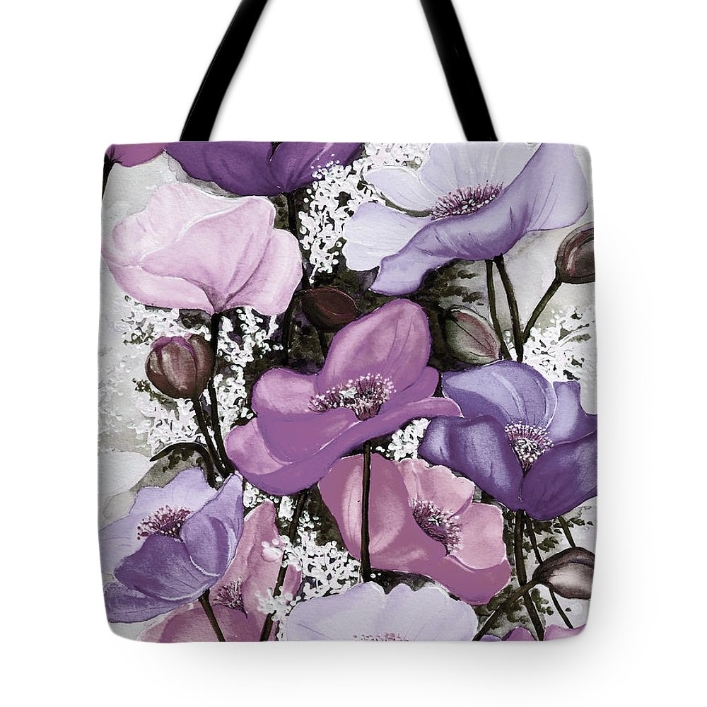Purple Tote Bag featuring the painting Mixed Poppies Purple by Karin Dawn Kelshall- Best