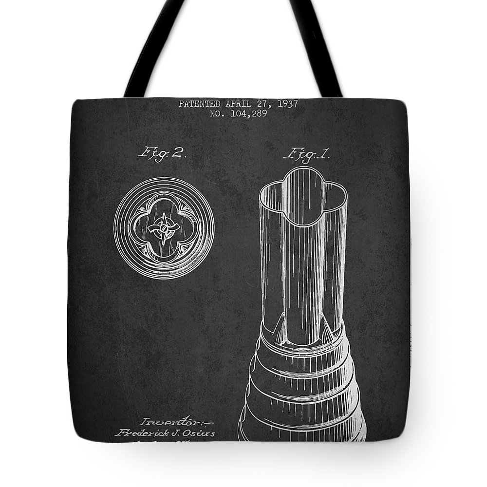 Blender Tote Bag featuring the digital art Mixer Patent From 1937 - Dark by Aged Pixel