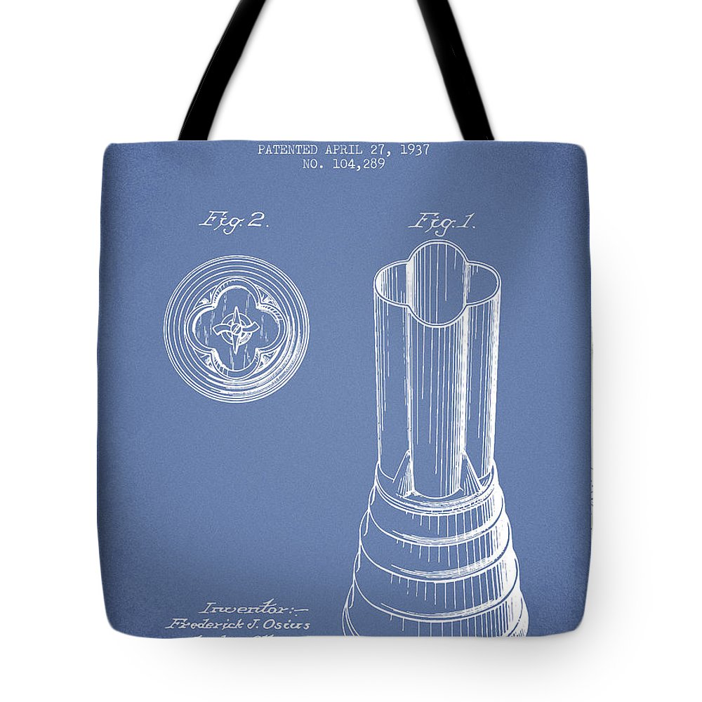 Blender Tote Bag featuring the digital art Mixer Patent From 1937 - Light Blue by Aged Pixel
