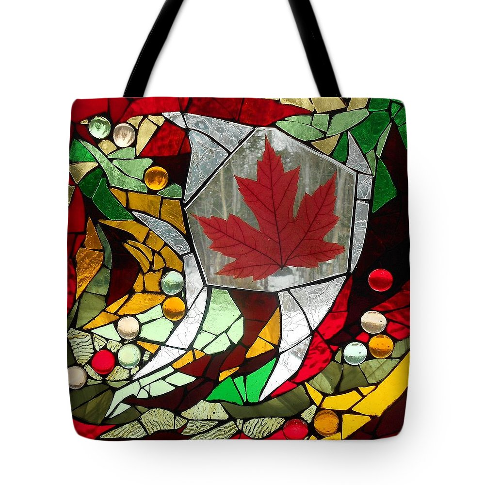 Leaf Tote Bag featuring the glass art Mosaic Stained Glass - Canadian Maple Leaf by Catherine Van Der Woerd