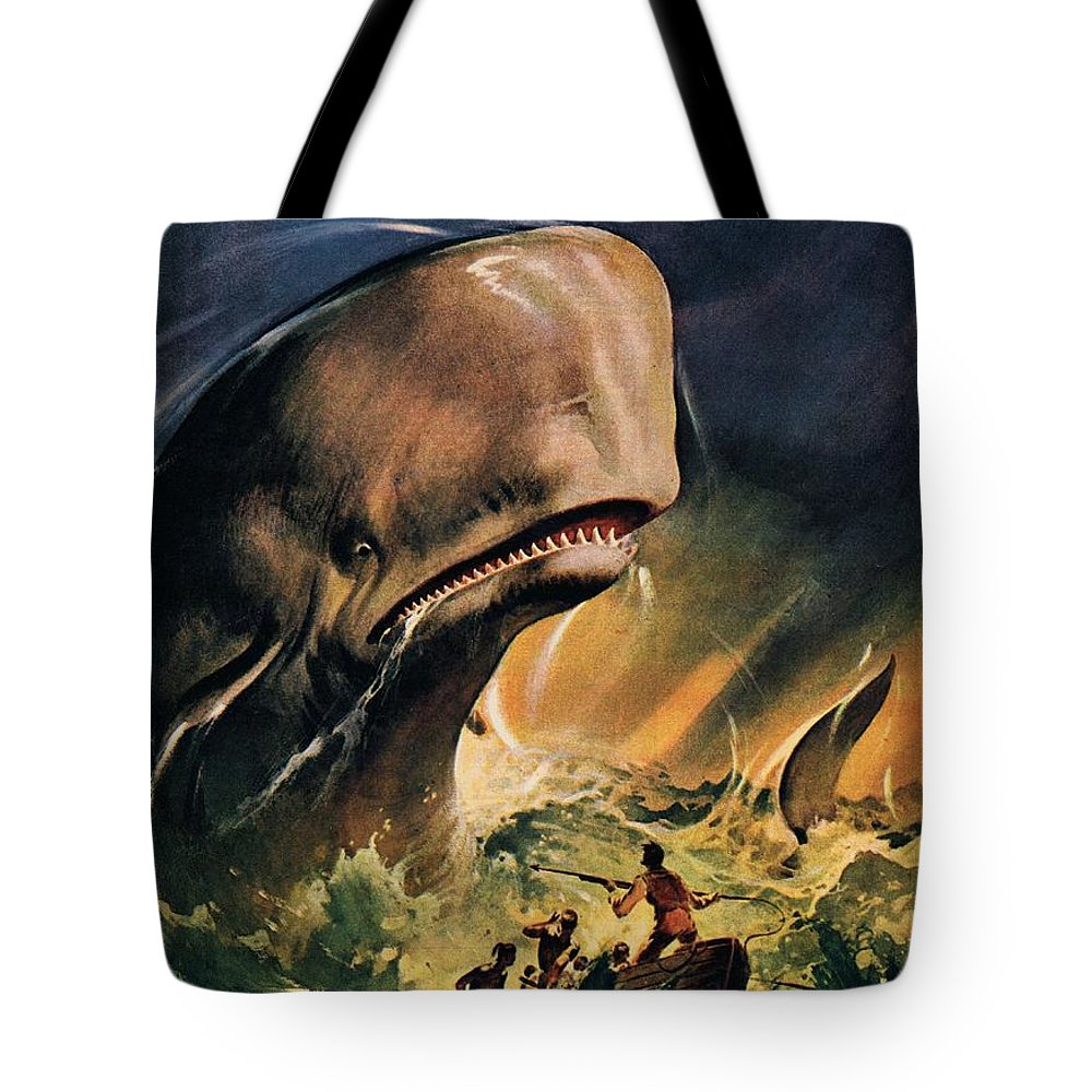 Moby Dick Tote Bag featuring the painting Moby Dick by James Edwin McConnell
