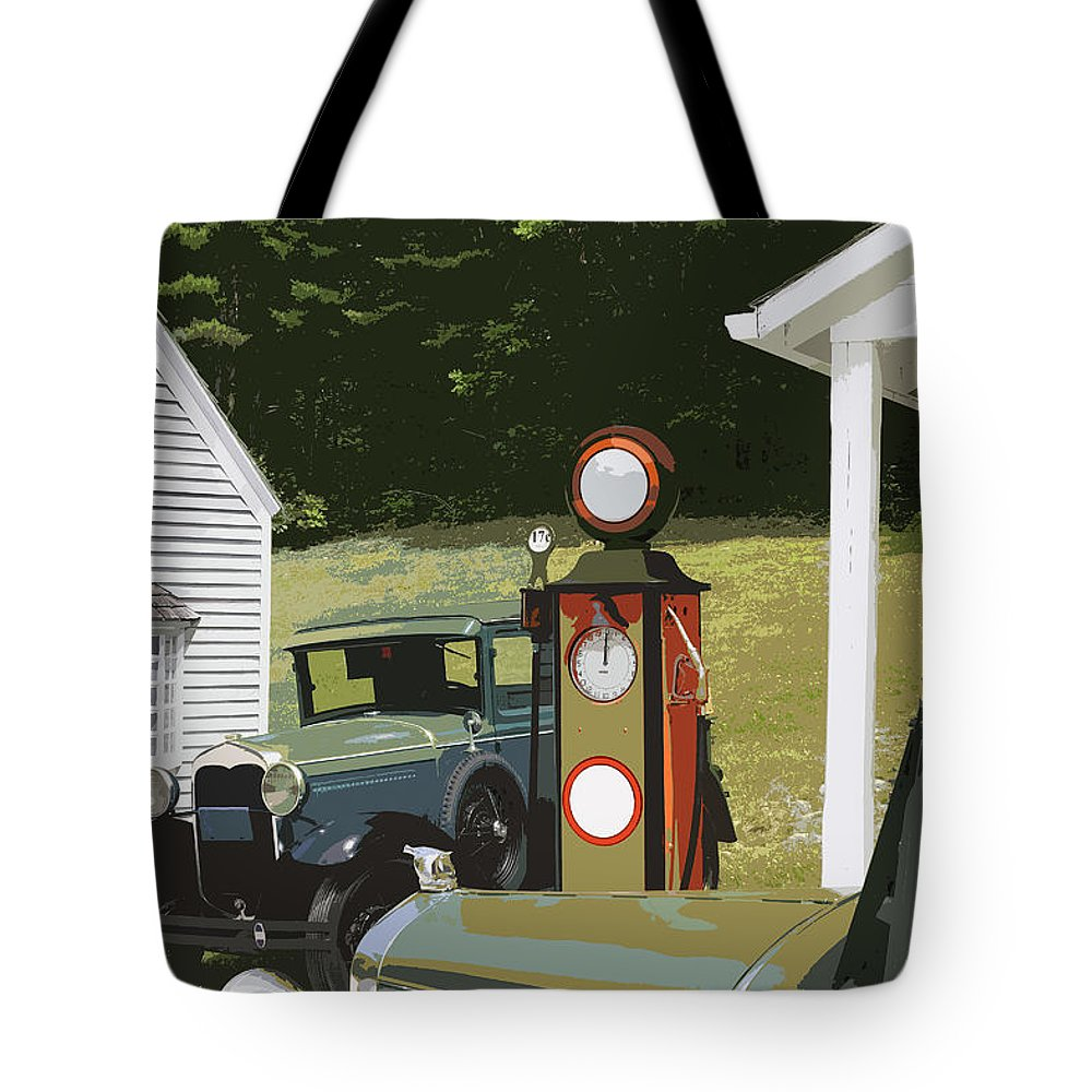 Model A Ford Tote Bag featuring the photograph Model A Ford And Old Gas Station Illustration by Keith Webber Jr