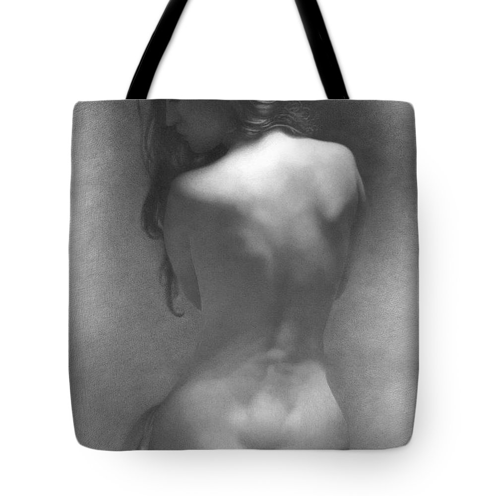 Tote Bag featuring the drawing Model Against The Dark Background 2002 by Denis Chernov