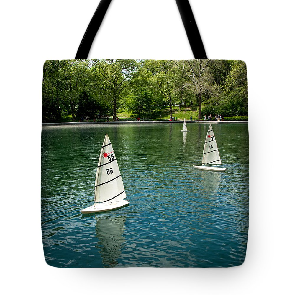 Central Park Tote Bag featuring the photograph Model Boats On Conservatory Water Central Park by Amy Cicconi