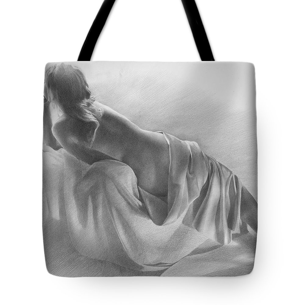 Tote Bag featuring the drawing Model In Drapery 2003 by Denis Chernov