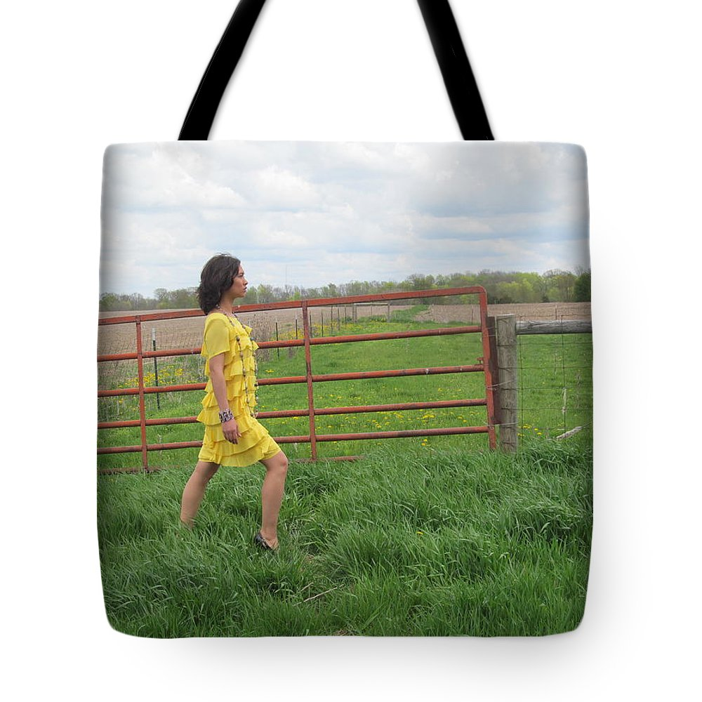 Model Tote Bag featuring the photograph Model In Yellow by Tina M Wenger