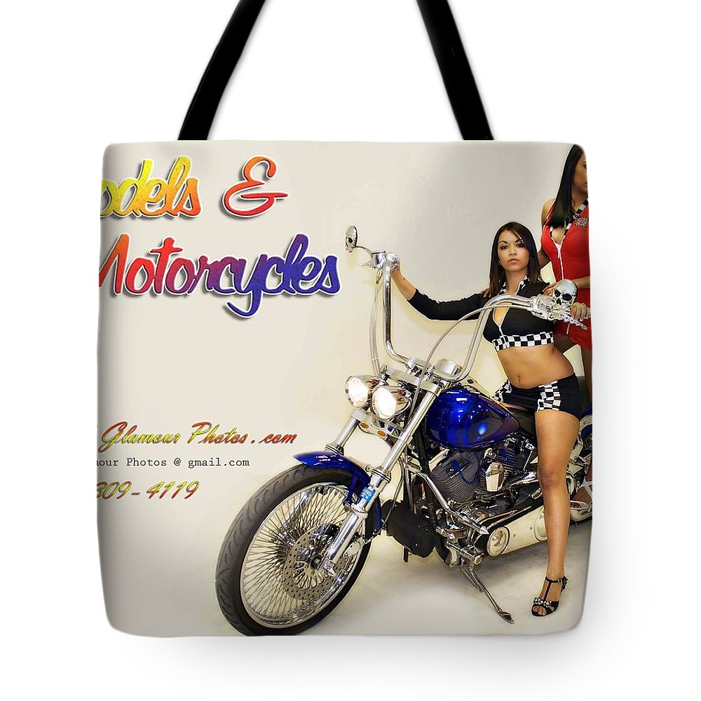 Models & Motorcycles Tote Bag featuring the photograph Models And Motorcycles by Walter Herrit