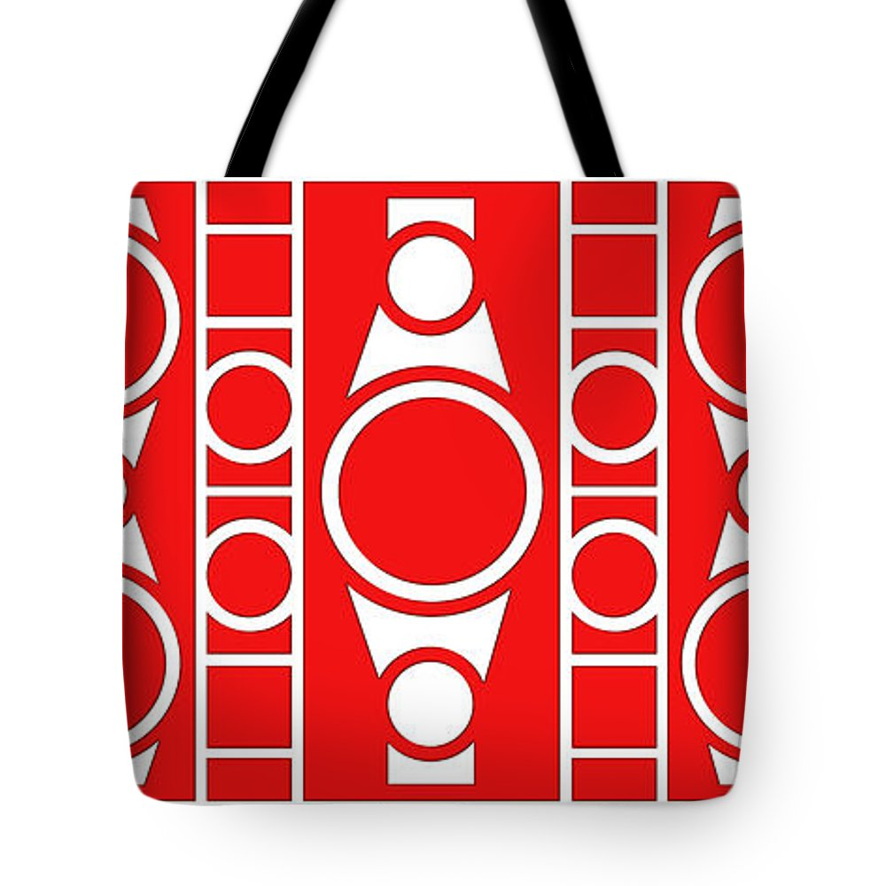 Red & White Tote Bag featuring the digital art Modern Design II by Mike McGlothlen