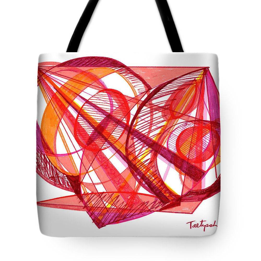 Modern Drawing Tote Bag featuring the drawing Modern Drawing Seventy-one by Lynne Taetzsch