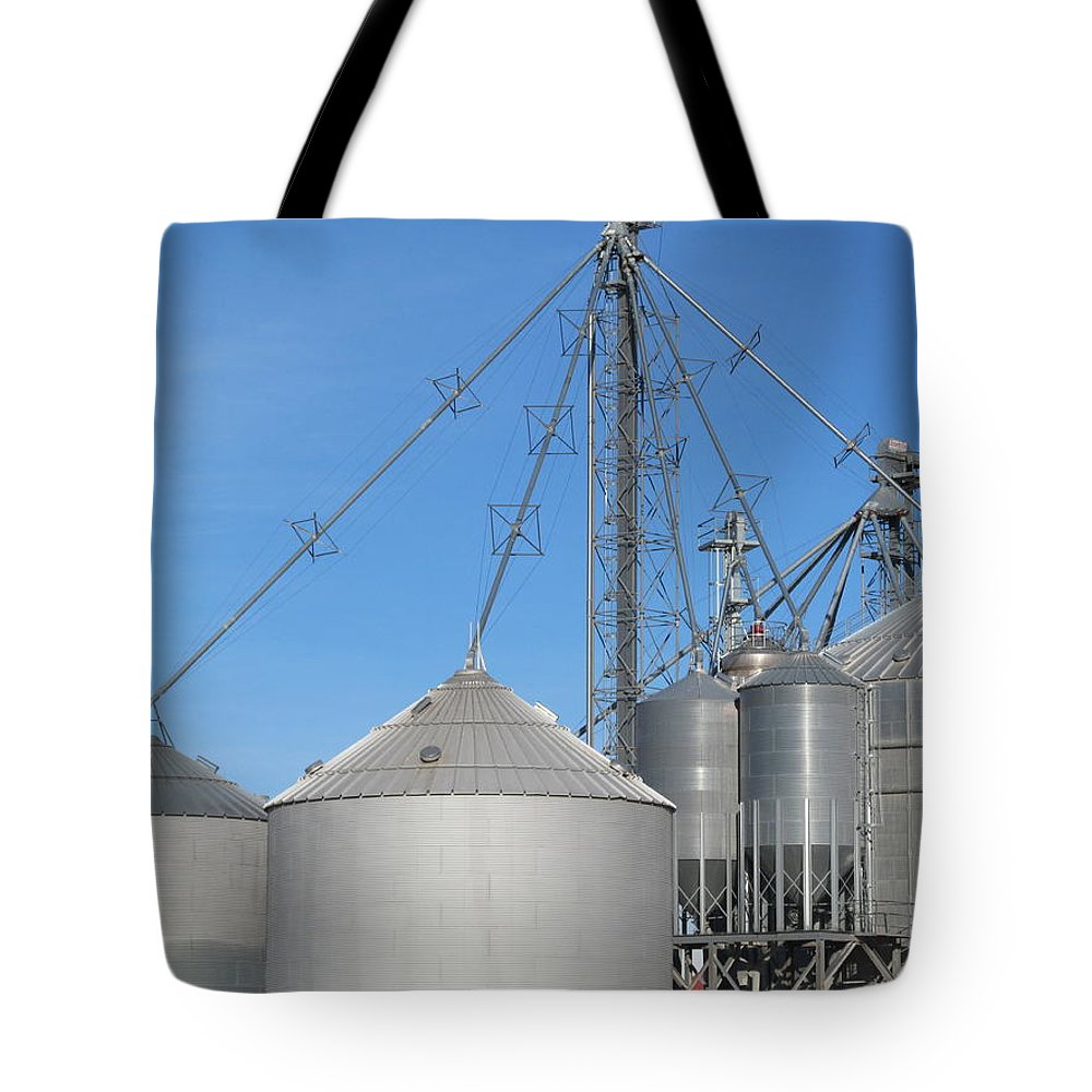 Farm Tote Bag featuring the photograph Modern Farm Storage And Towers by Tina M Wenger