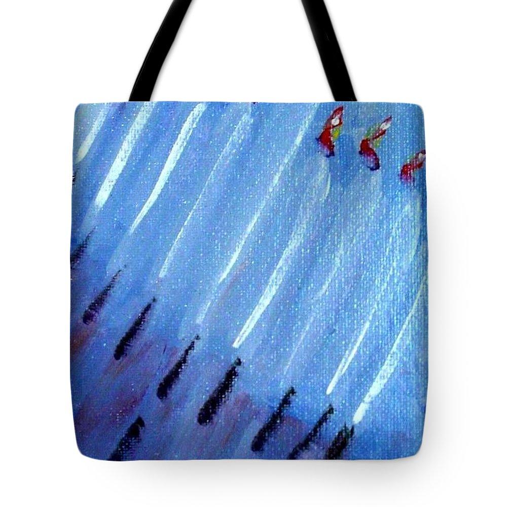 Menorah Tote Bag featuring the painting Modern Menorah by Laurie Morgan