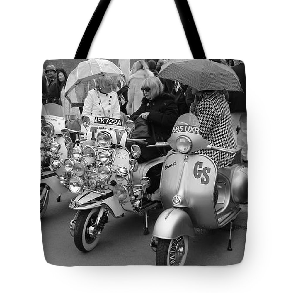 Mods Tote Bag featuring the photograph Mods Scooters by Robert Phelan
