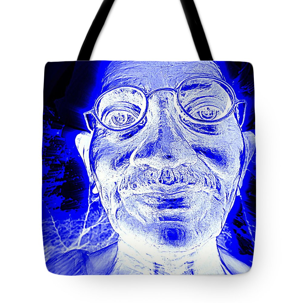 Pop Art Tote Bag featuring the digital art Mohandas Gandhi by Ed Weidman
