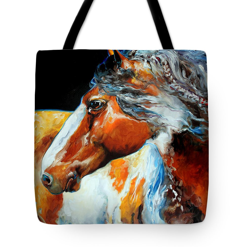 Horse Tote Bag featuring the painting MOHICAN the INDIAN WAR PONY by Marcia Baldwin