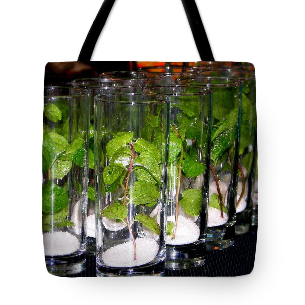 Mojitos Tote Bag featuring the photograph Mojitos In The Making by Karen Wiles