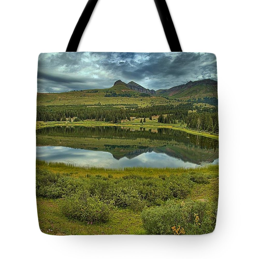 Little Molas Lake Tote Bag featuring the photograph Molas Reflections by Adam Jewell