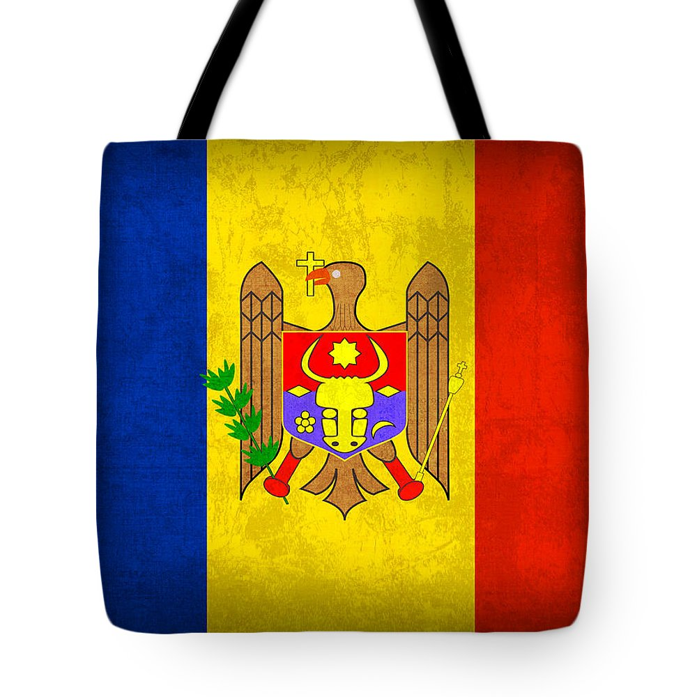 Moldova Tote Bag featuring the mixed media Moldova Flag Vintage Distressed Finish by Design Turnpike