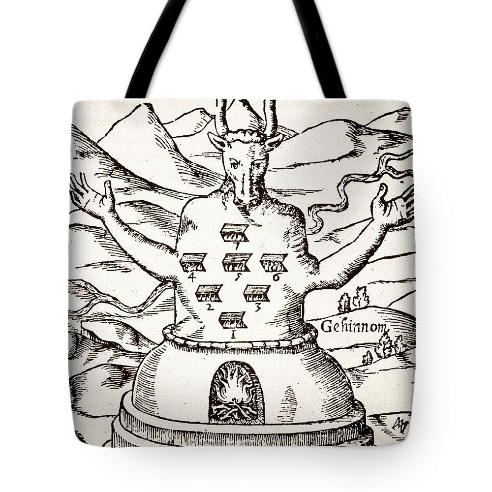 Occult Tote Bag featuring the drawing Moloch by Italian School