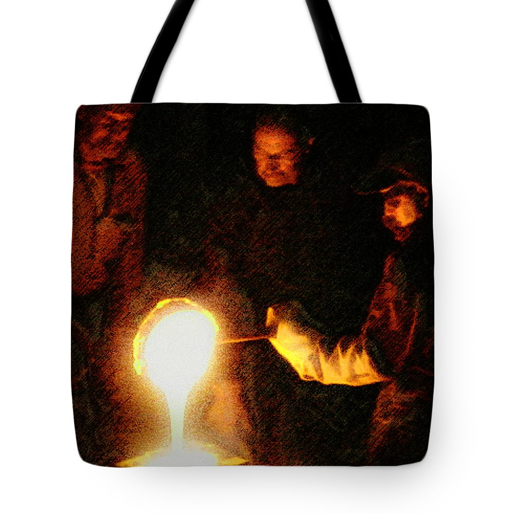 Glass Tote Bag featuring the photograph Molten Glass by John Anderson