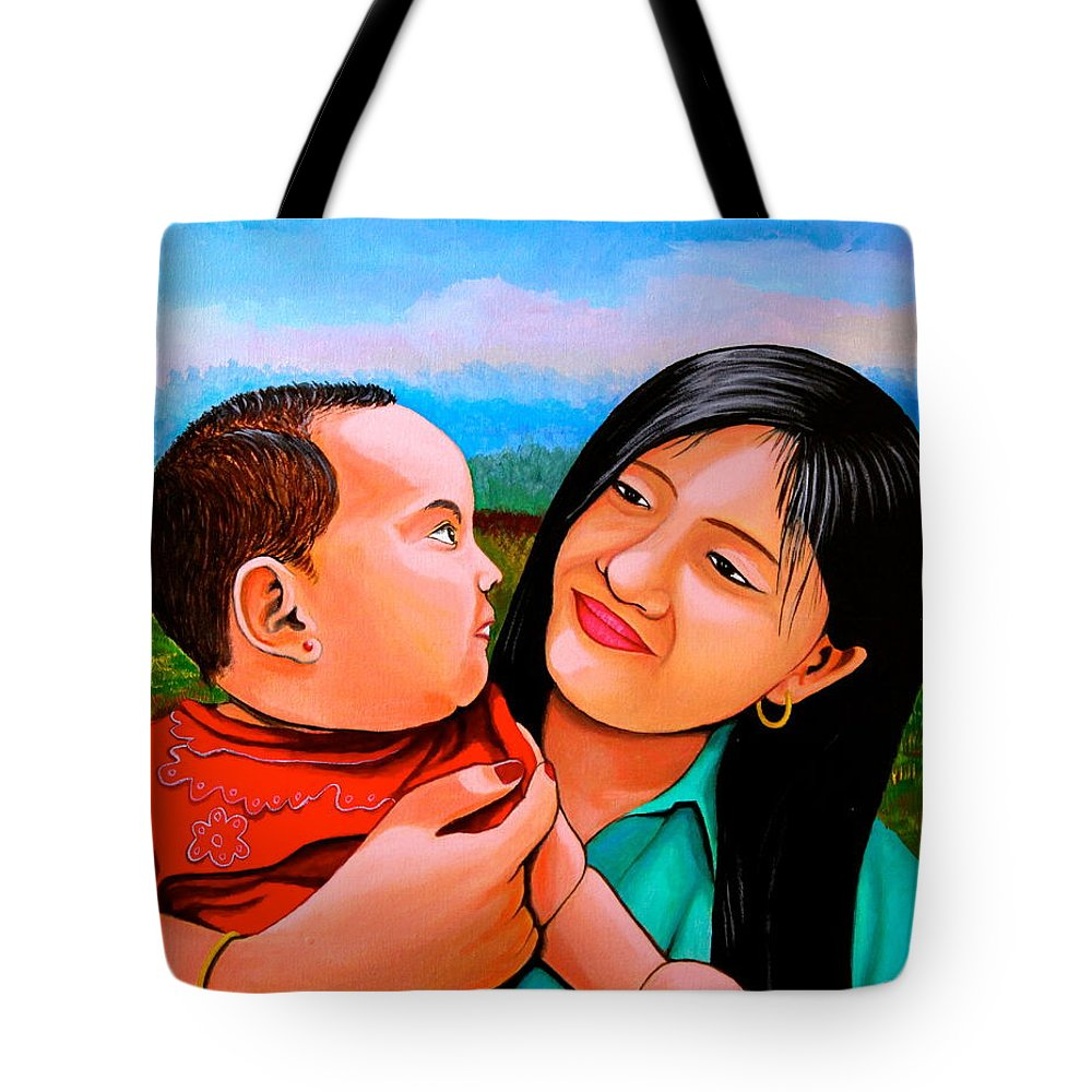 Baby Tote Bag featuring the painting Mom And Babe by Cyril Maza