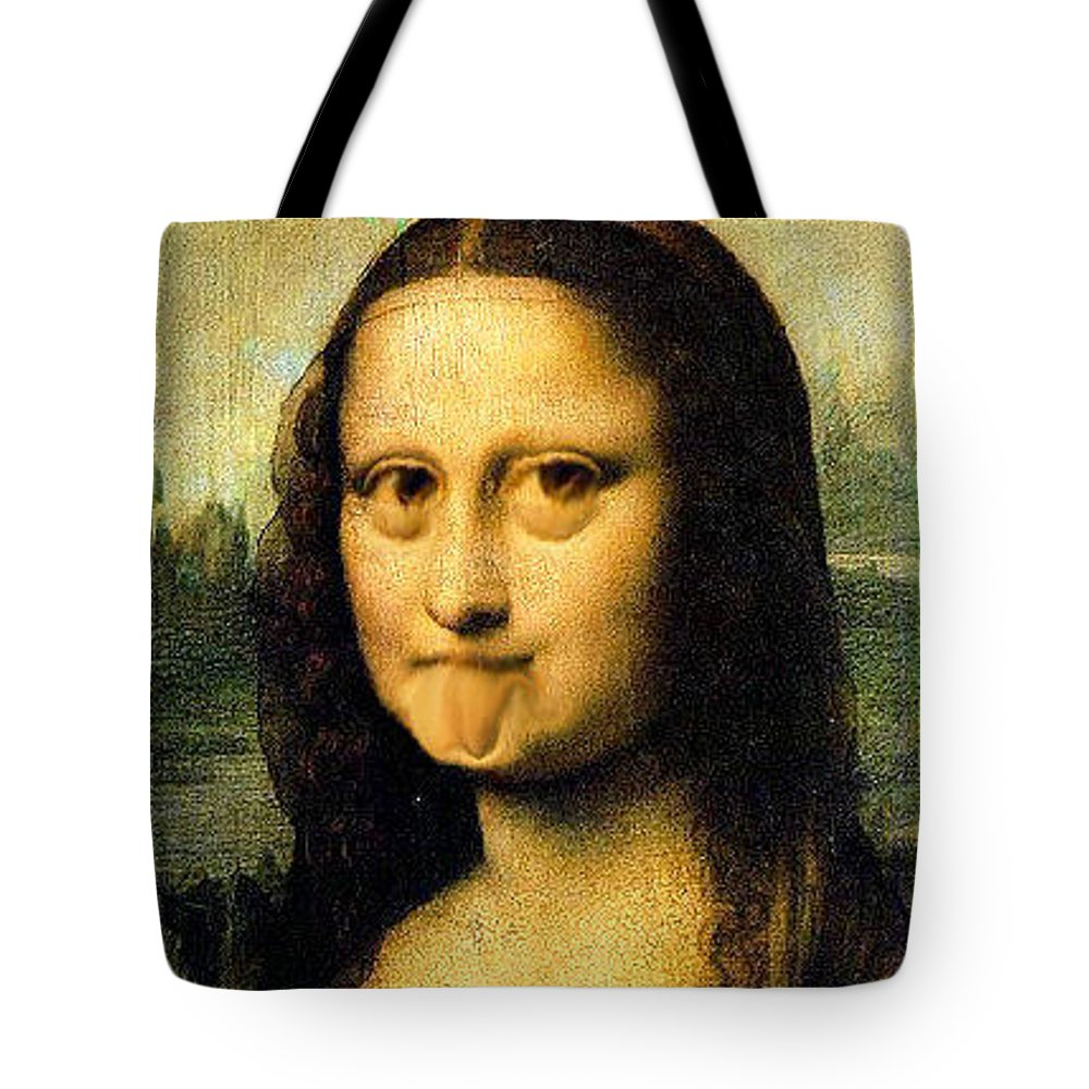 Mona Lisa Tote Bag featuring the painting Mona Lisa Making Faces by Bruce Nutting