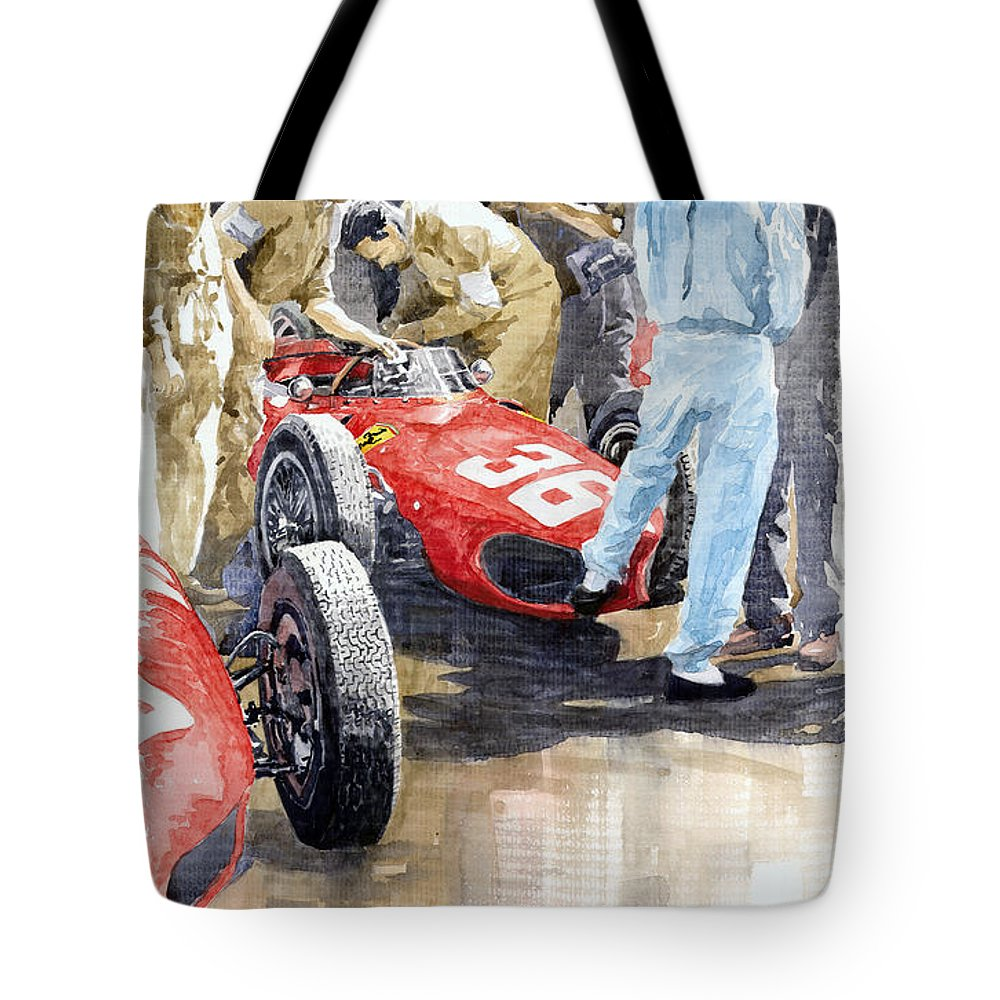 Watercolor Tote Bag featuring the painting Monaco Gp 1961 Ferrari 156 Sharknose Richie Ginther by Yuriy Shevchuk
