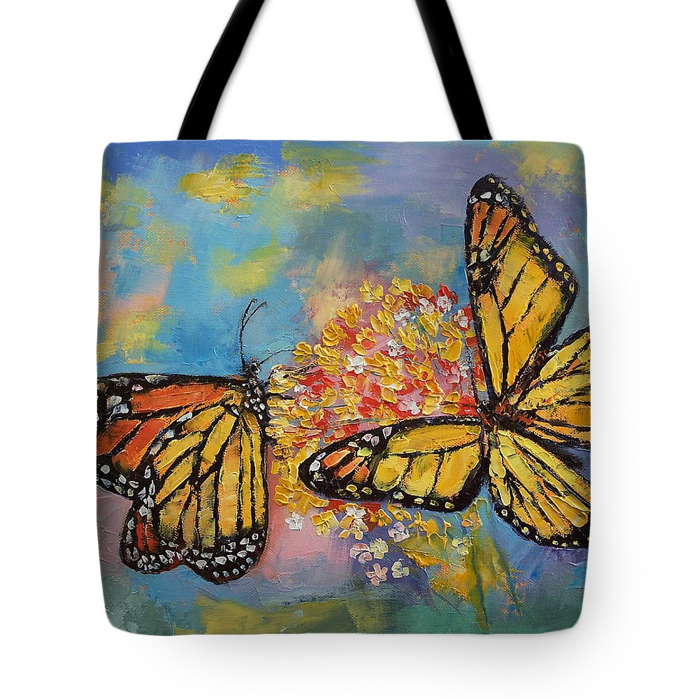 Monarch Tote Bag featuring the painting Monarch Butterflies by Michael Creese