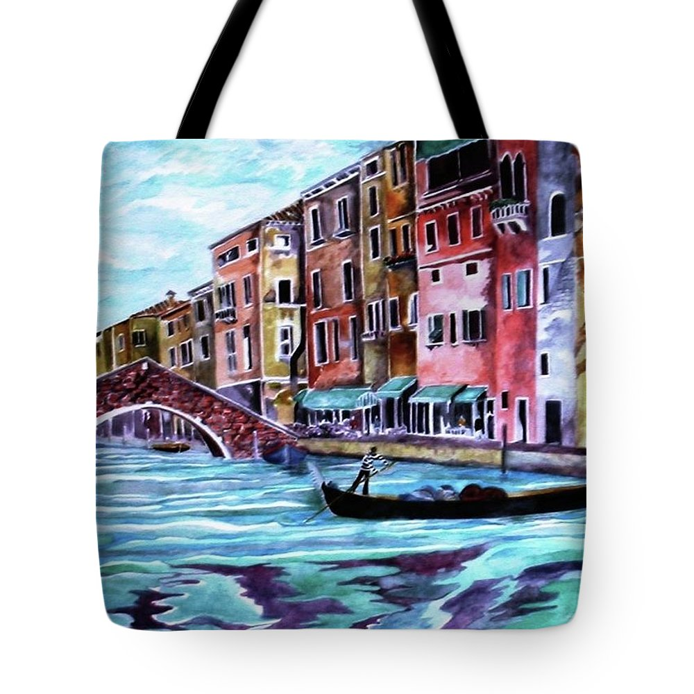 Venice Tote Bag featuring the painting Monday In Venice by Kandy Cross