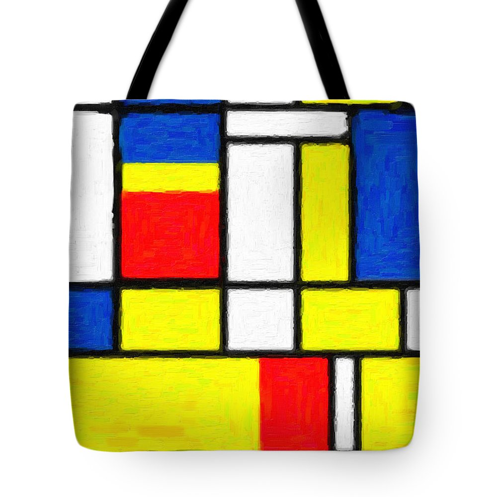 Mondrian Rectangles Tote Bag featuring the digital art Mondrian Rectangles by Celestial Images