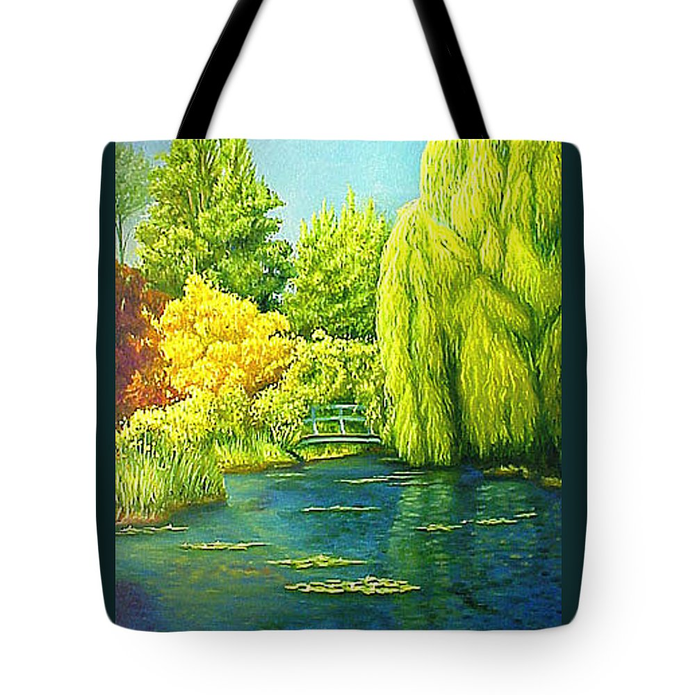 Monets Lily Pond Tote Bag featuring the painting Monets Lily Pond In Green by Gary Hernandez