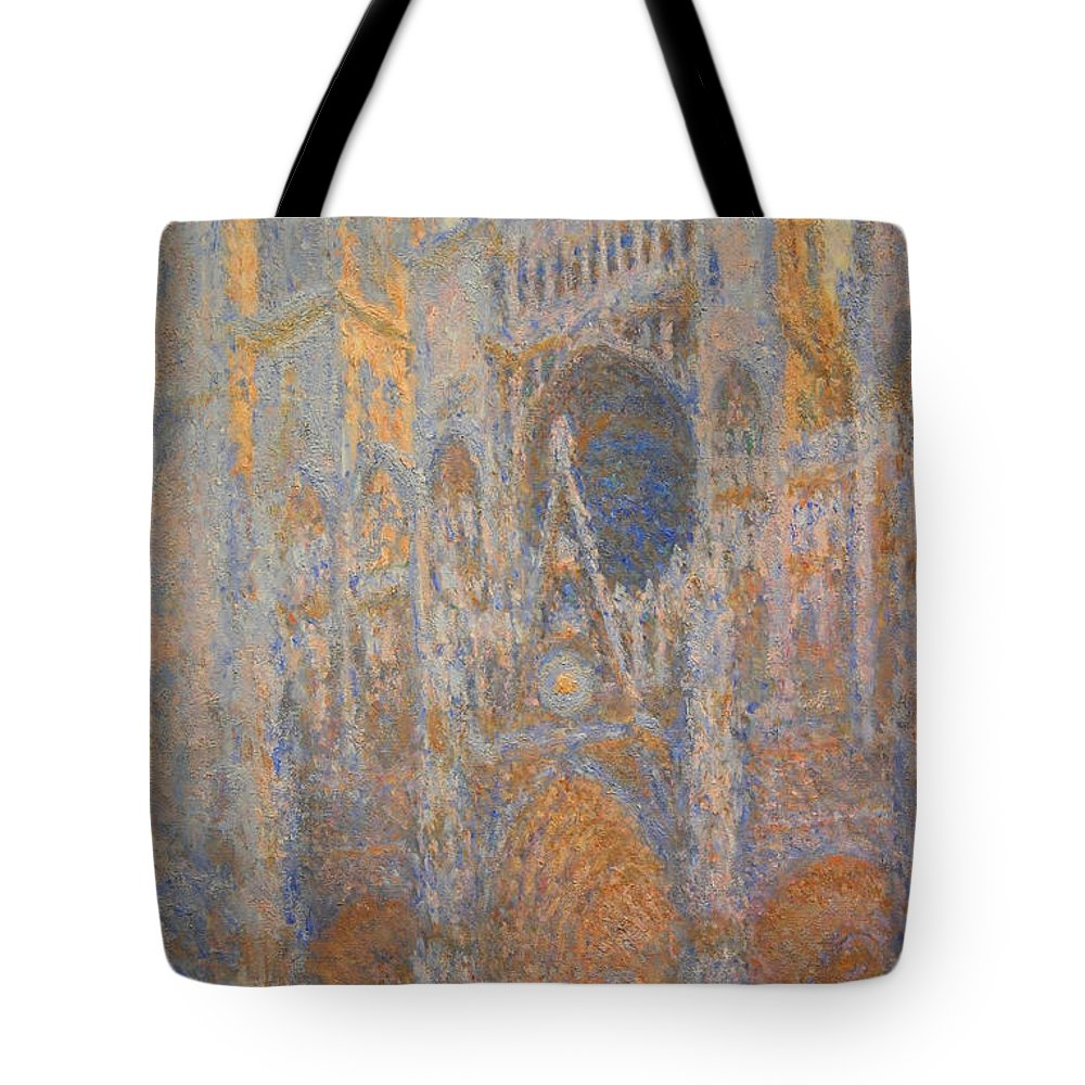 Rouen Cathedral Tote Bag featuring the photograph Monet's Rouen Cathedral -- West Facade by Cora Wandel