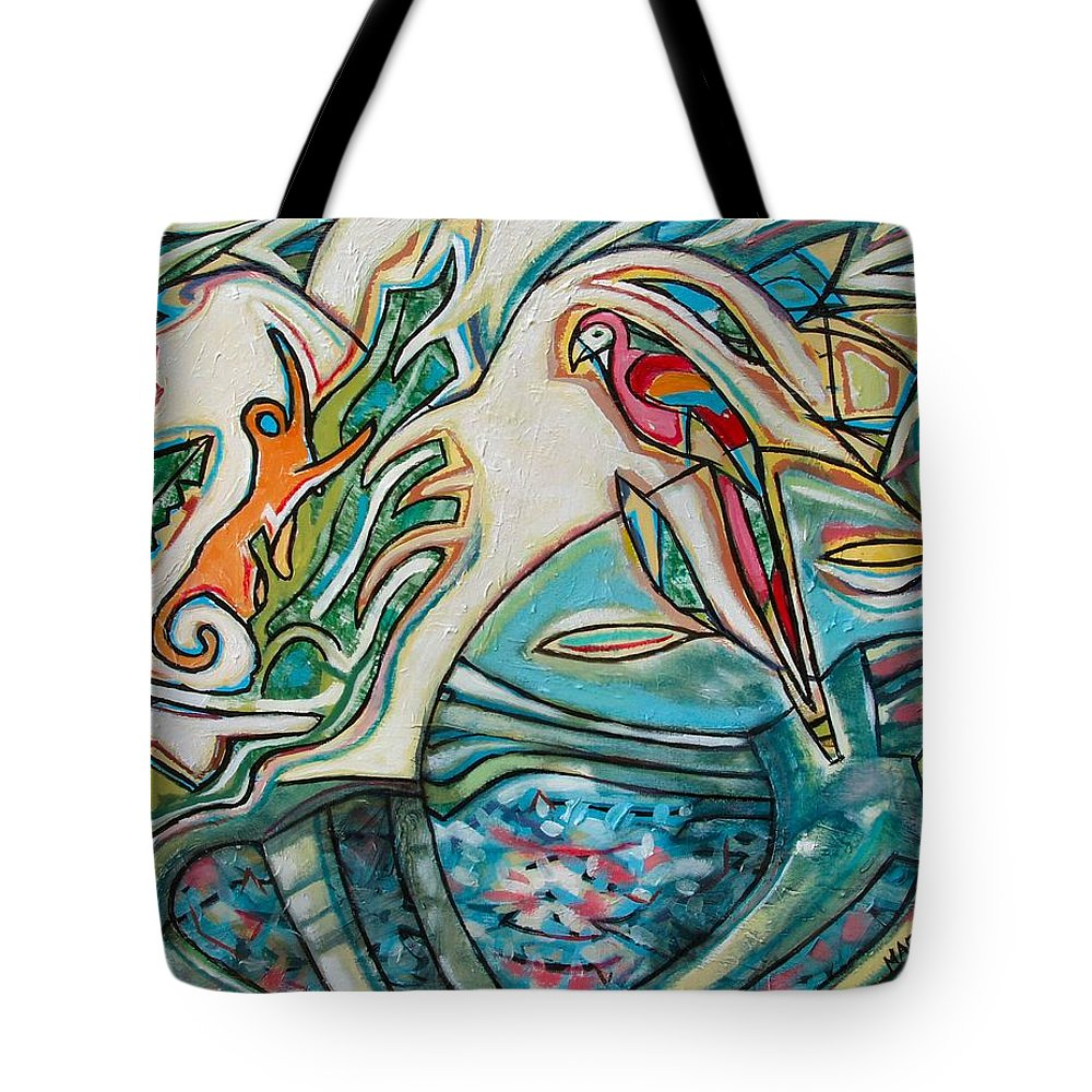 Monkey And Macaw Tote Bag featuring the painting Monkey And Macaw by Marcio Melo