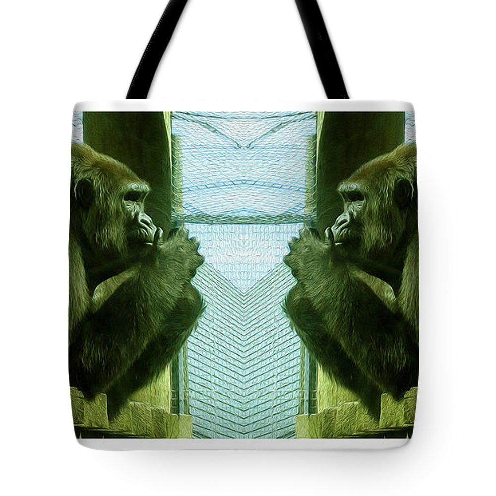 Gorilla Tote Bag featuring the photograph Monkey See Monkey Do by Nina Silver