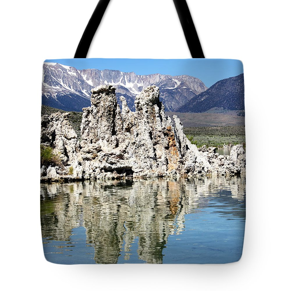 Mammoth Mountains Tote Bag featuring the photograph Mono Lake And Sierra Mtns by Linda Dunn
