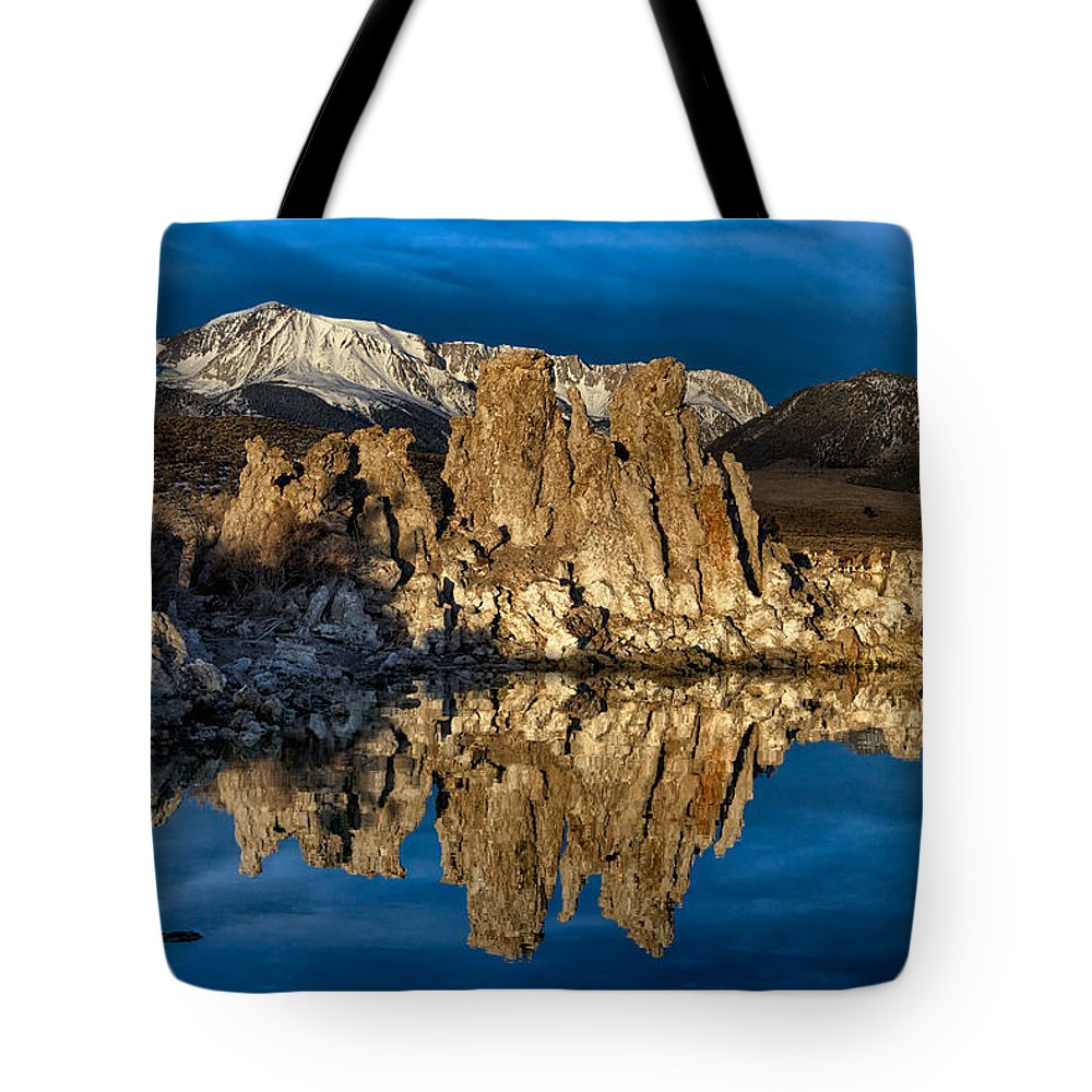 Mono Lake Tote Bag featuring the photograph Mono Lake In March by Kathleen Bishop