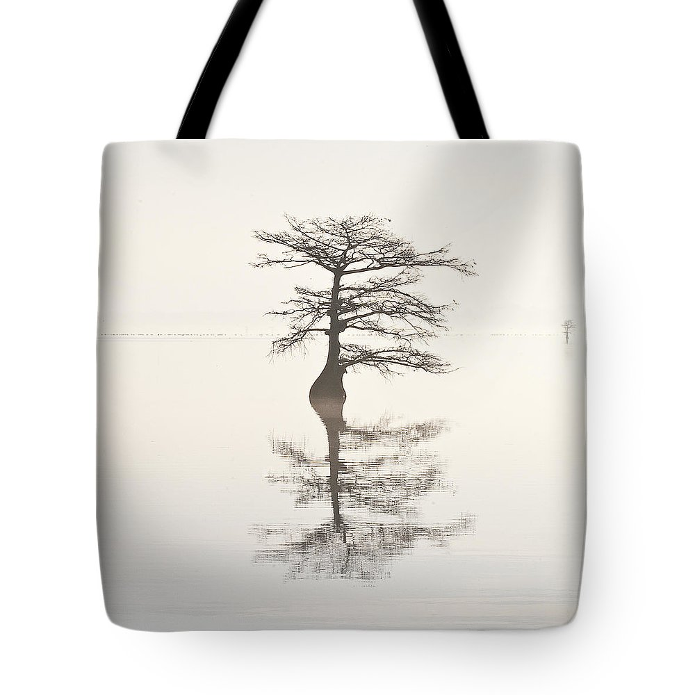 Cypress Tote Bag featuring the photograph Monochromatic Morning On Lake Mattamuskeet Two by Bill Swindaman