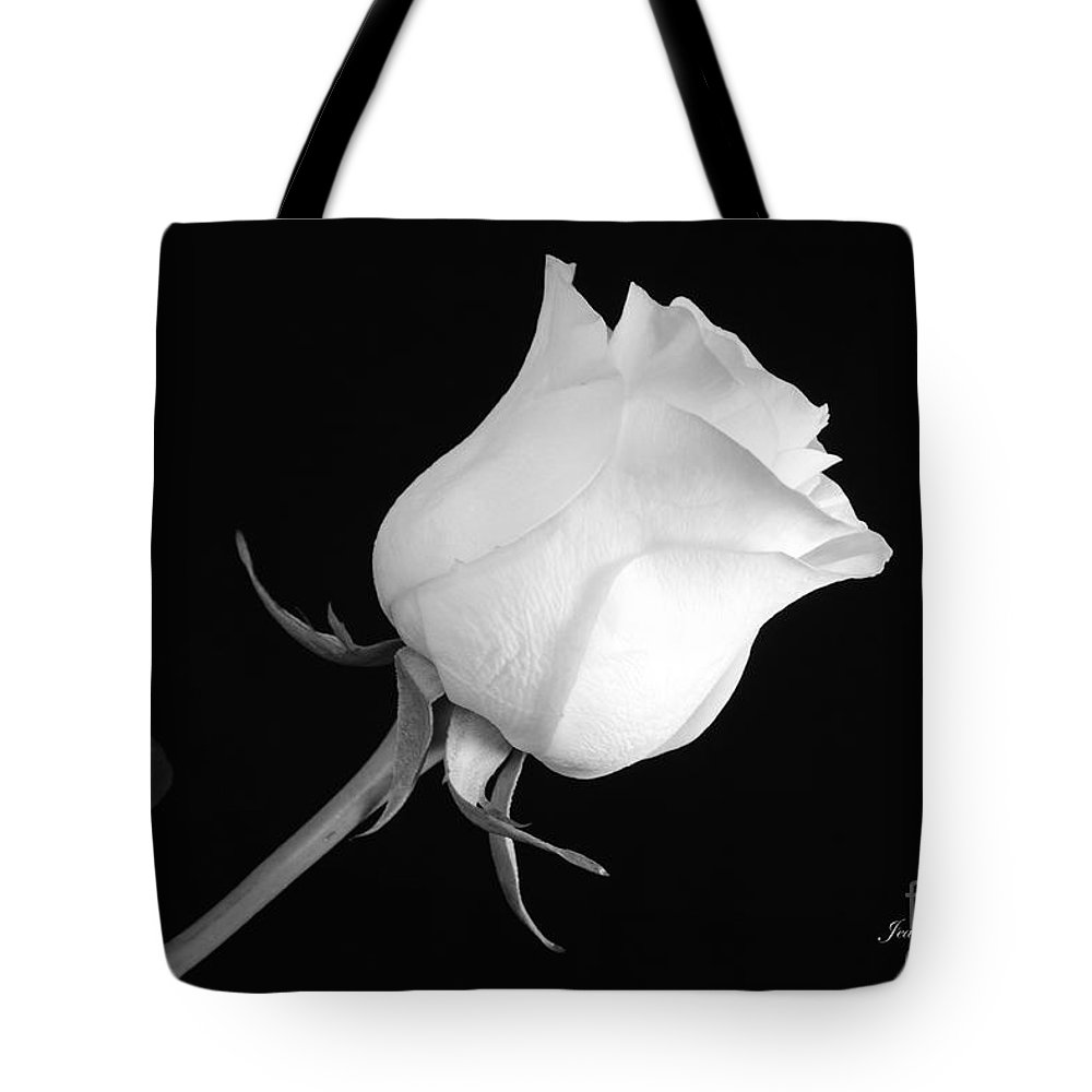 Monochrome White Rose Tote Bag featuring the photograph Monochrome White Rose by Jeannie Rhode