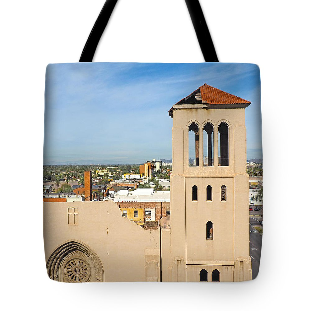 Monroe Street Tote Bag featuring the photograph Monroe Street Abbey by C H Apperson