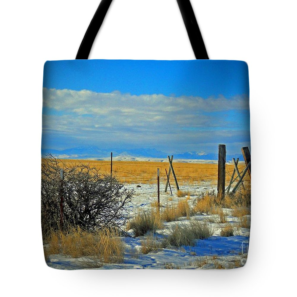 Montana Tote Bag featuring the photograph Montana Fencerow by Desiree Paquette