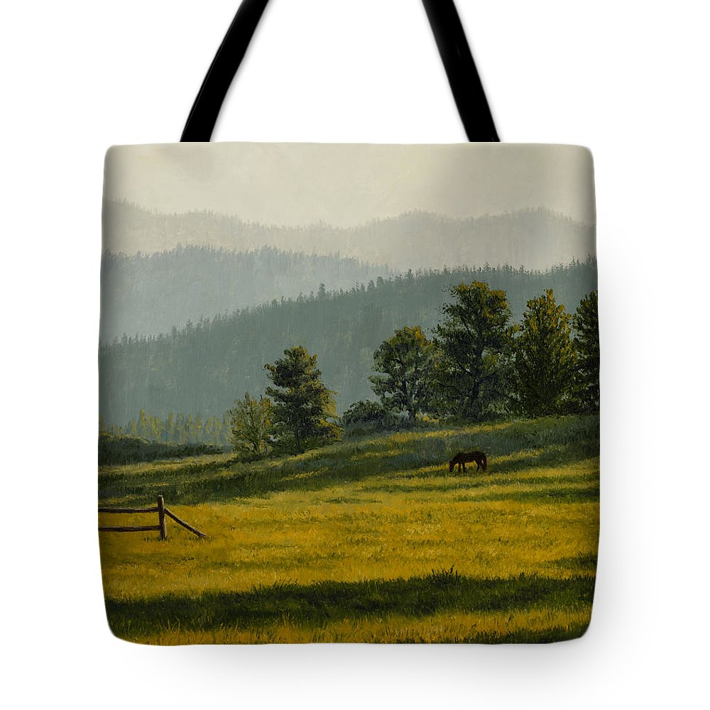 Montana Tote Bag featuring the painting Montana Morning by Crista Forest